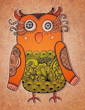 Cute owl on real paper background. Lacy bird.