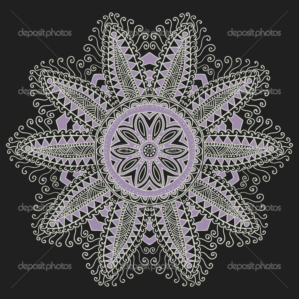 Ornamental round lace pattern. Background for celebrations, holi