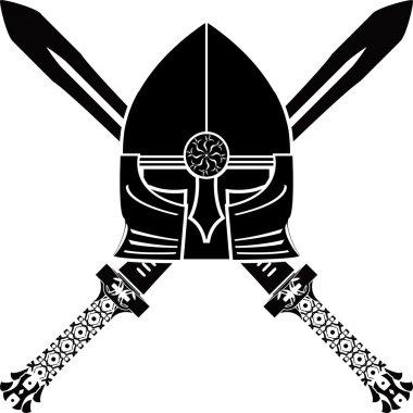 Medieval helmet and swords