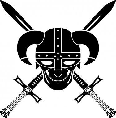 Helmet and swords of fantasy warrior