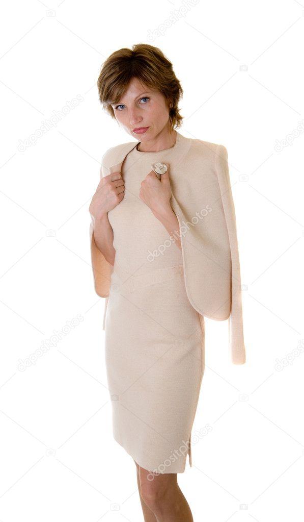 Imágenes Vestidos Color Beige Mujer Con Un Vestido Color