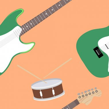 Abstract seamless background with musical instruments