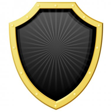 Vector illustration golden shield with a dark background and the