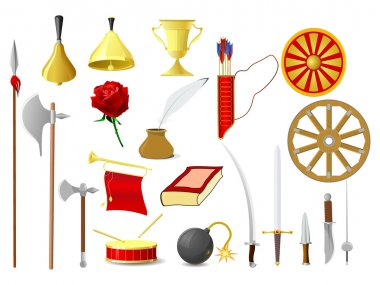 Set of vector images of old objects