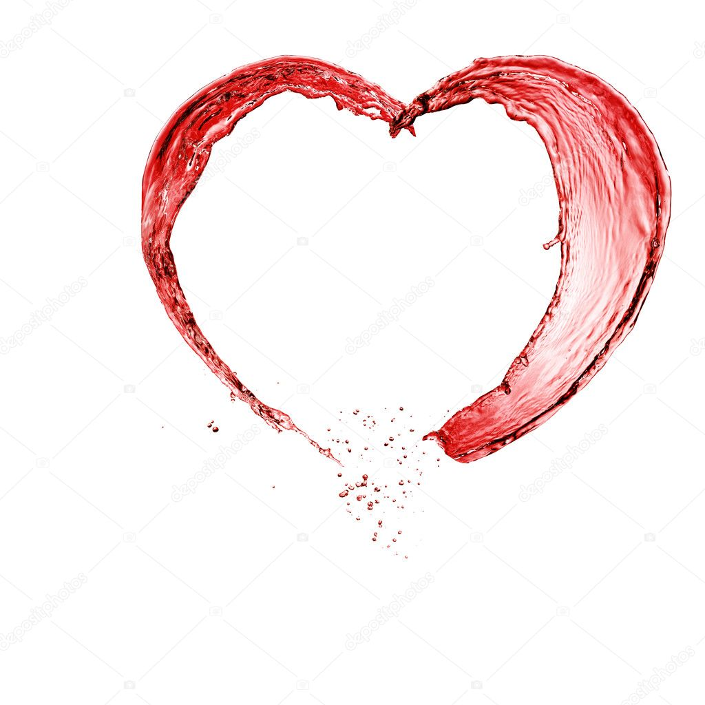 valentine heart made of red wine splash isolated on white
