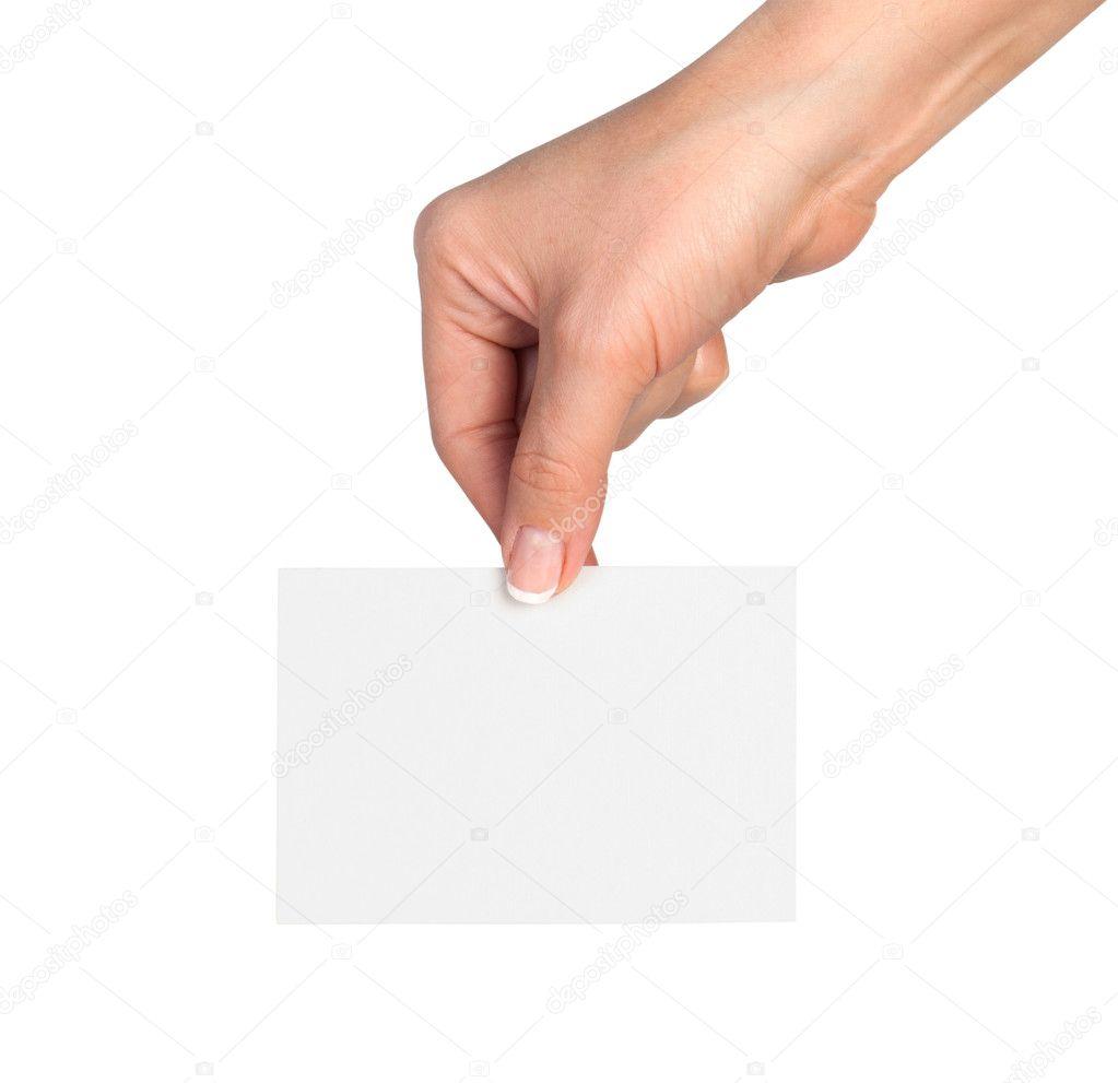 Hand holding blank business card — Stock Photo © urfingus ...