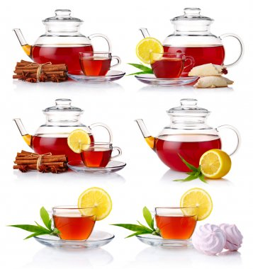 Set of teapot with black tea isolated on white