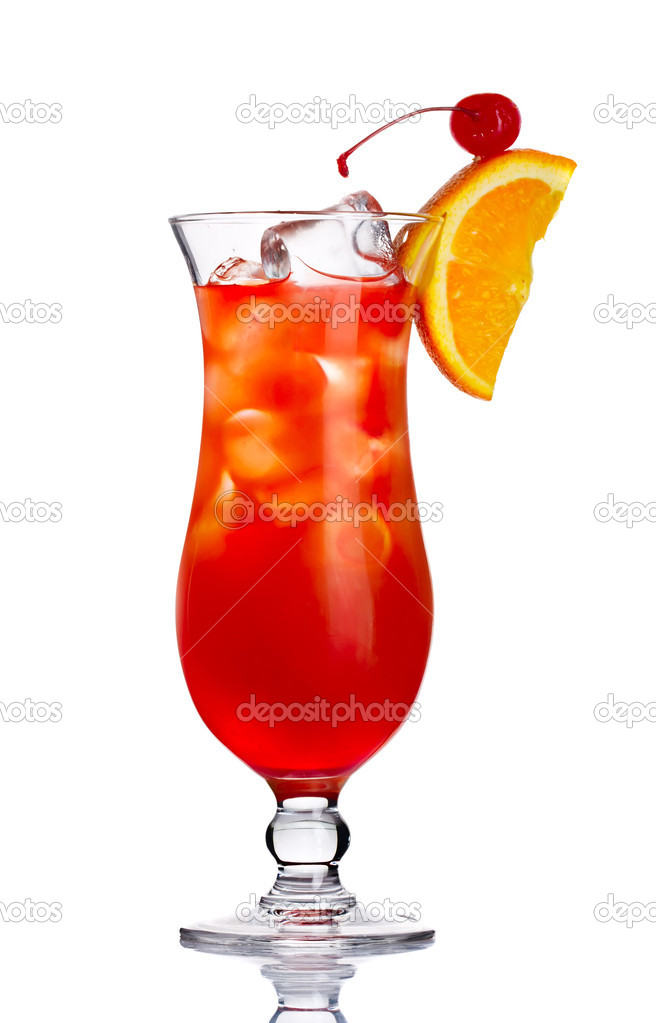 Red alcohol cocktail in with orange slice isolated