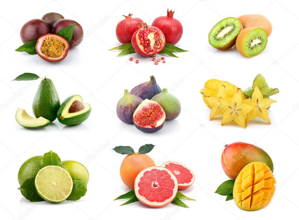 Set of exotic fruits isolated on white