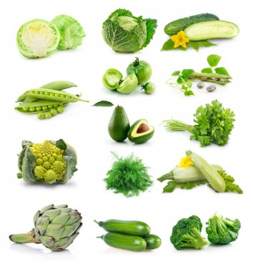 Set of fresh green vegetables isolated on white background stock vector