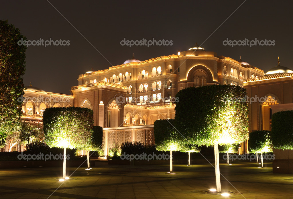 Emirates Palace Garden in the night