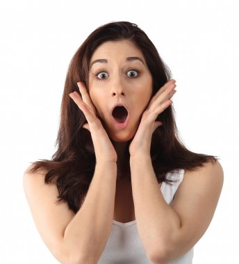 Surprised young brunette woman