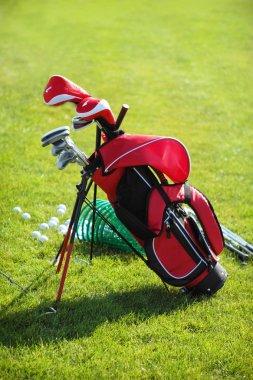Golf clubs in golfbag, green grass background