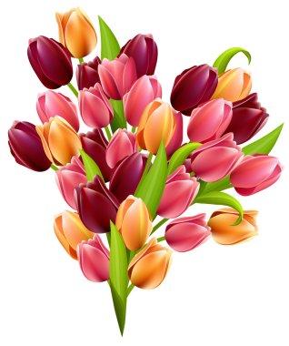Big realistic bunch of tulips