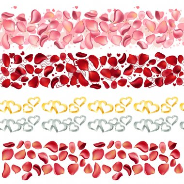 Seamless borders made of rose petals