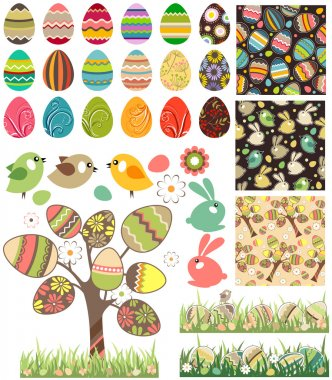 Big easter set with traditional eggs.
