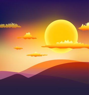 Sunset with clouds and hills