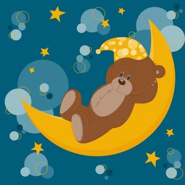 Card with sleeping teddy bear on moon