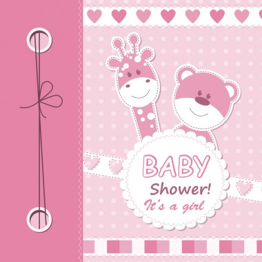 Vector baby girl scrapbook card
