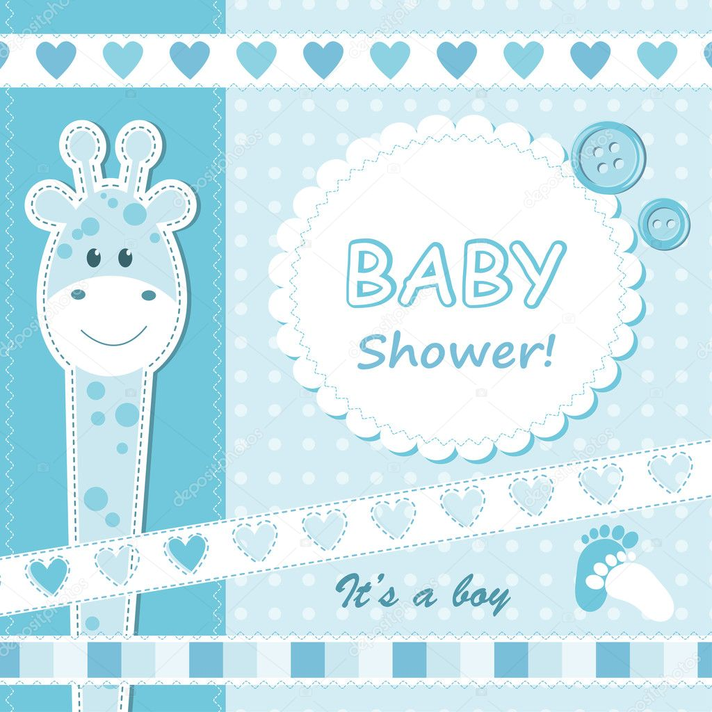 Baby boy announcement card.