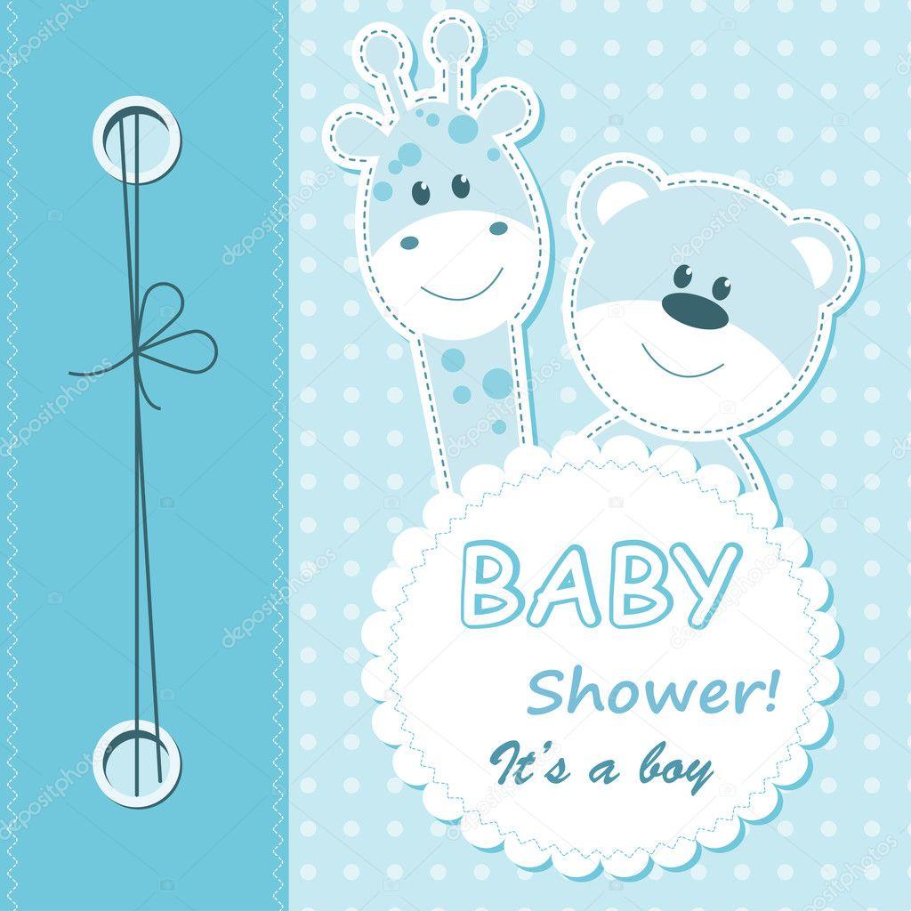 Vector baby boy scrapbook card