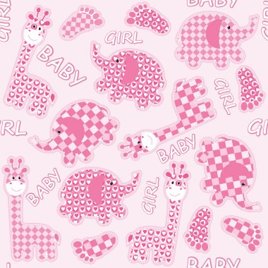 Seamless baby background with cartoons animals stock vector