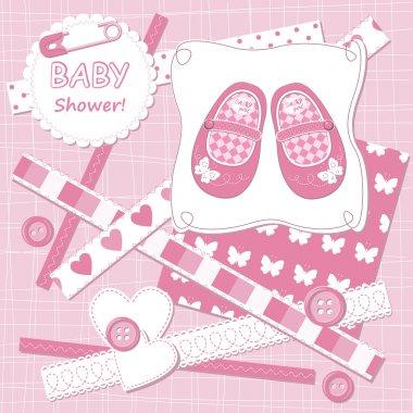 Vector baby girl scrapbook