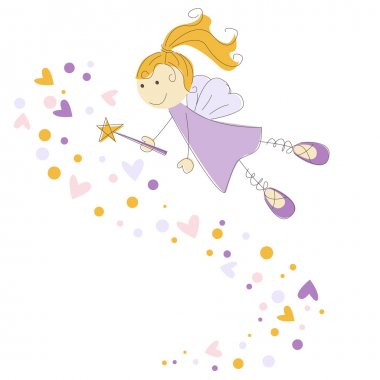 Vector illustration of a fairy with magic stick
