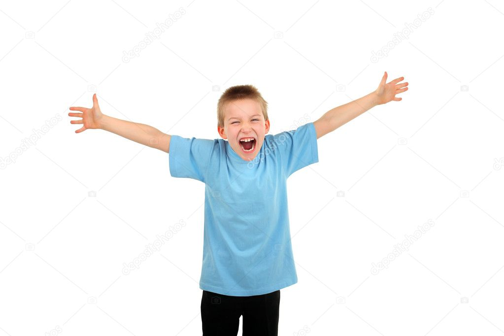 Boy spread hands