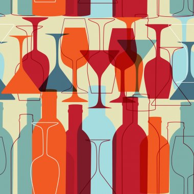 Seamless background with wine bottles and glasses