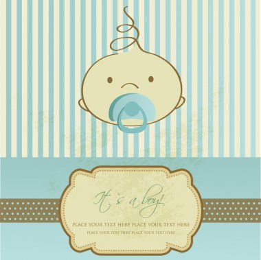 Vintage baby boy arrival announcement card.