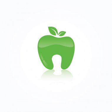 Ecological symbol of human tooth as a green apple with leaf