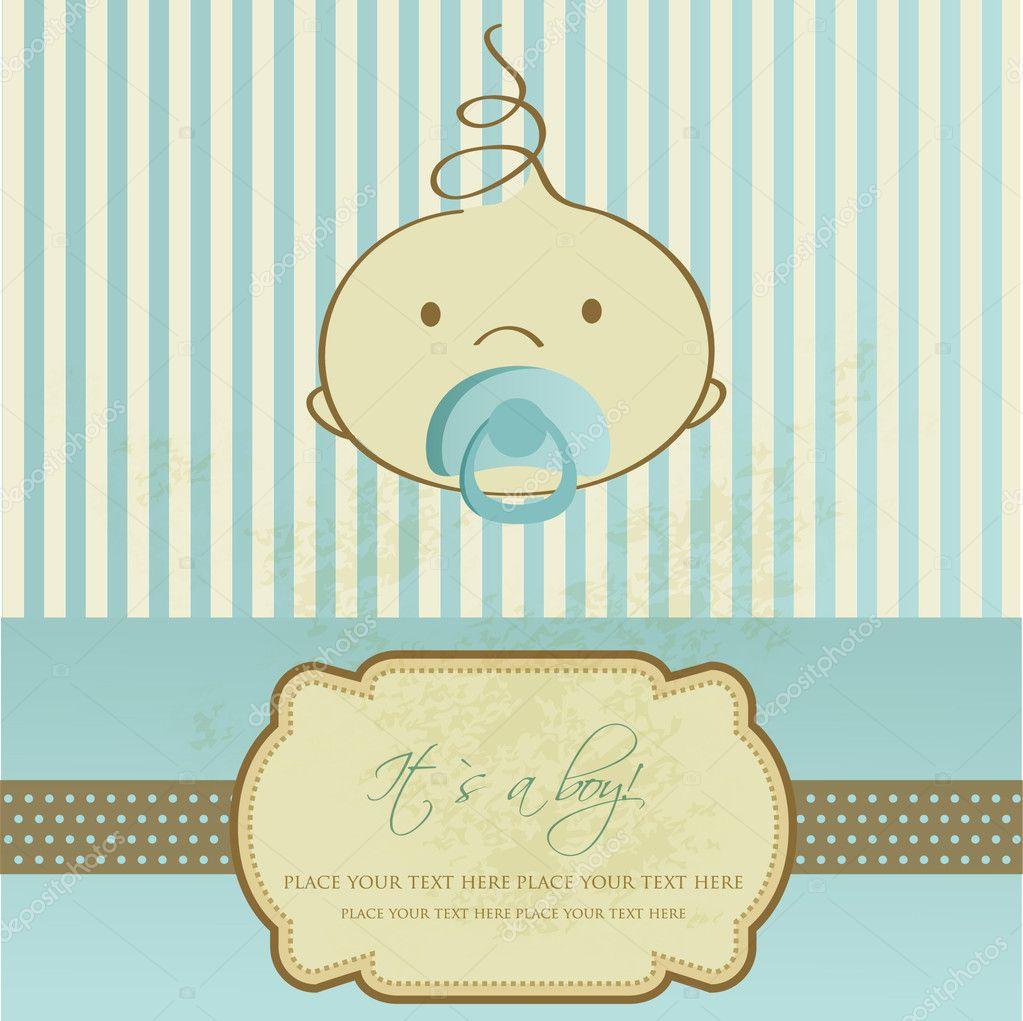 Vintage baby boy arrival announcement card.