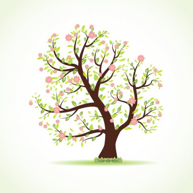Vector illustration of beautiful spring tree with fresh new leaves, small pink flowers and green grass