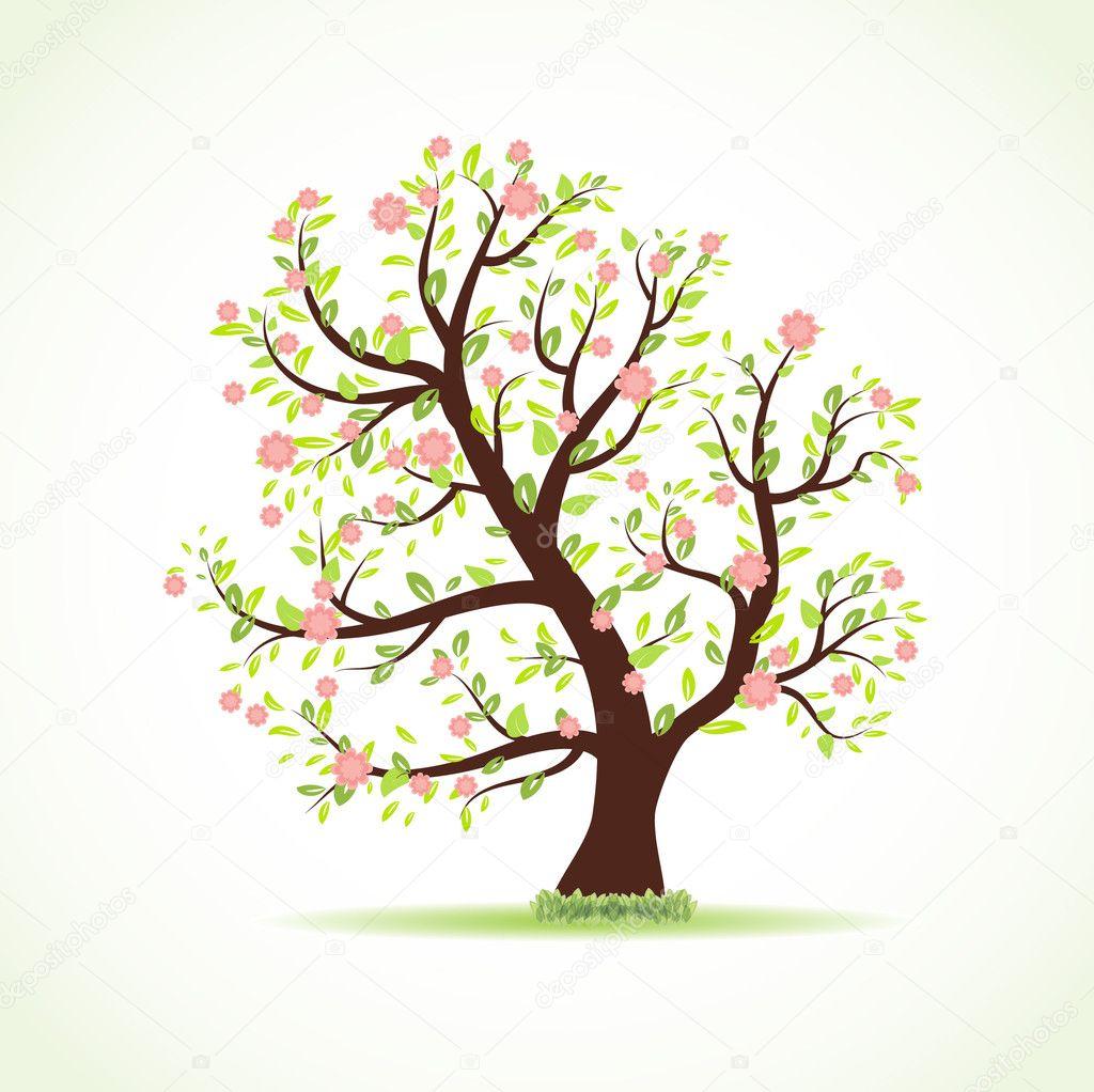 Vector ilustración del árbol de hermosa primavera con frescas hojas ...