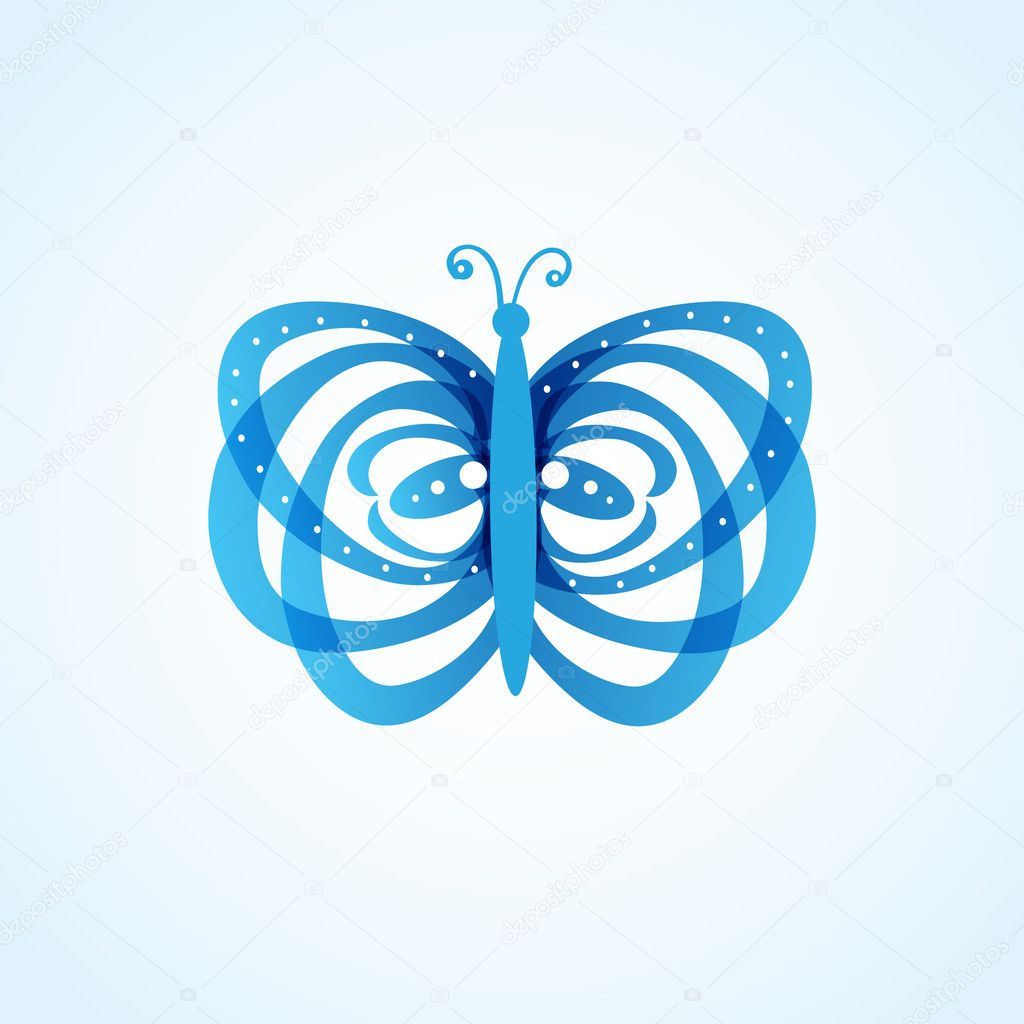 Beautiful abstract blue butterfly