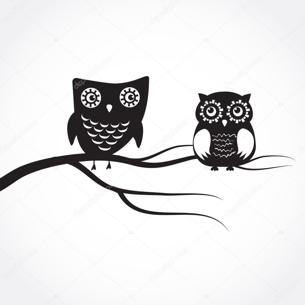 Owls couple sitting on the tree branch.