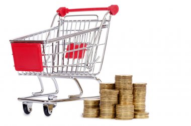 Shopping cart and coins