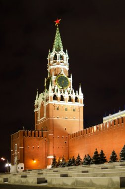 Night view of Moscow Red Square, Spasskaya Tower of Kremlin