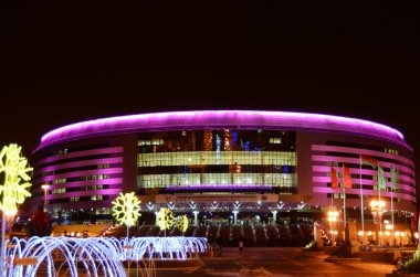 Ice palace in Minsk at night
