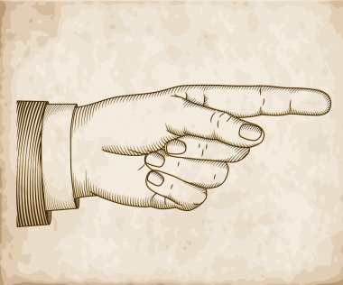 Hand with pointing finger on old paper. Vector EPS 10