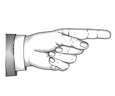 Hand with pointing finger. Woodcut illustration