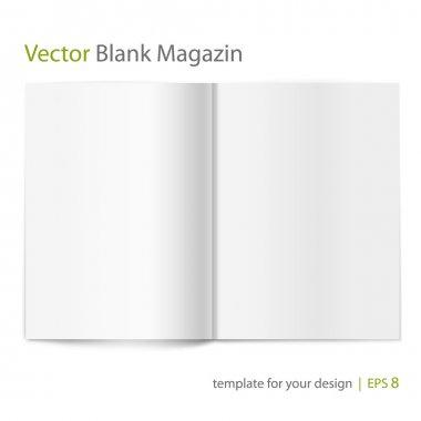 Vector blank magazine on white background. Template for design