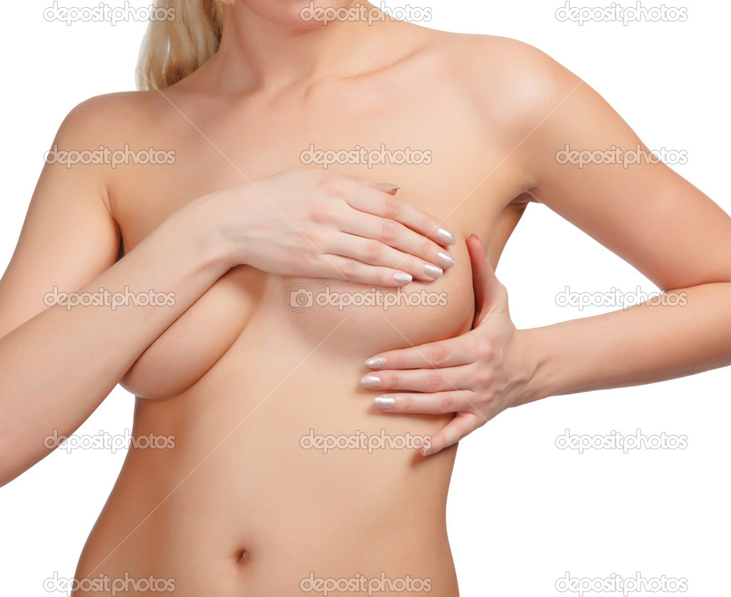 Female controlling breast for cancer, isolated on white backgrou
