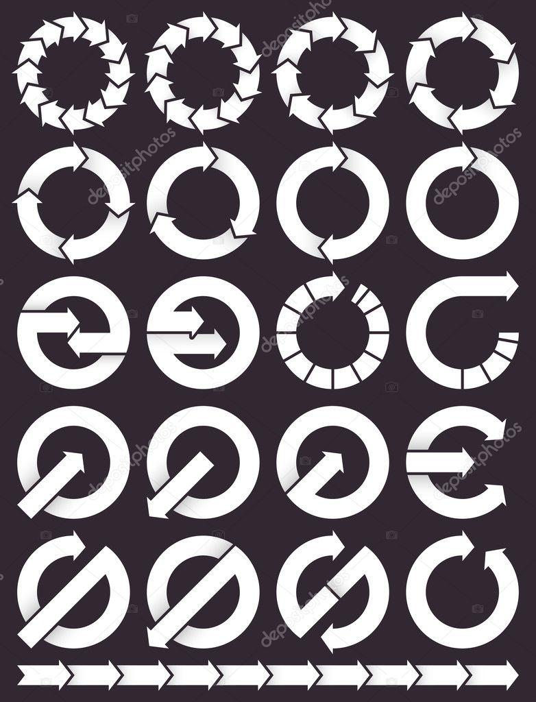 Set of circular arrows icons
