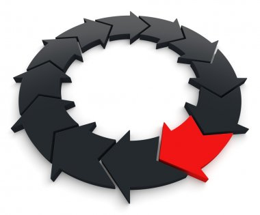 Red Arrow in Leadership Concept