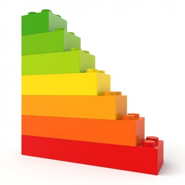 Energy efficiency concept with toy bricks