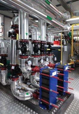 Modern gas boiler room