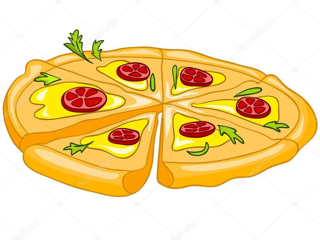 Dibujos Animados Comida Pizza — Vector