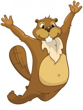 Cartoon Character Beaver CREES Isolated on White Background. Vector..Look for Fun Beaver by Keyword